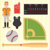Cartoon baseball player icons batting vector design. American game athlete winner sport. Champion league equipment competition man character and athletic sport Stock Photos