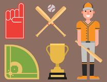 Cartoon baseball player icons batting vector design. American game athlete winner sport. Champion league equipment competition man character and athletic sport Stock Images