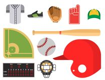Cartoon baseball player icons batting vector design american game athlete sport league equipment. Cartoon baseball player icons batting vector design american Stock Image