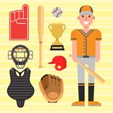 Cartoon baseball player icons batting vector design american game athlete sport league equipment Royalty Free Stock Photos