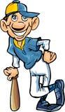 Cartoon baseball player. Isolated on white Stock Images