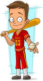 Cartoon baseball player in red uniform. A vector illustration of cartoon baseball player in red uniform Royalty Free Stock Images