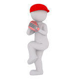 Cartoon Baseball Player Winding Up to Make Pitch. 3d Rendering of Cartoon Figure Wearing Red Cap and Baseball Glove Winding Up to Make Pitch on White Background Stock Photo