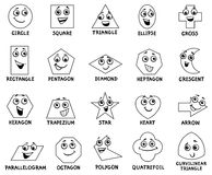 Cartoon basic geometric shapes characters. Black and White Cartoon Illustration of Educational Basic Geometric Shapes Characters with Captions for Preschool or Royalty Free Stock Images