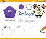 Cartoon basic geometric shapes. Educational Cartoon Illustration of Pentagon Basic Geometric Shape for Children Royalty Free Stock Photos