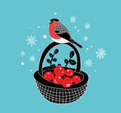 Cartoon basket with red berries an winter bullfinch on it. Royalty Free Stock Images