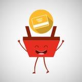 Cartoon basket shopping credit card Royalty Free Stock Photography