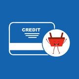 Cartoon basket shopping credit card Royalty Free Stock Photos