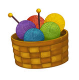 Cartoon basket with wool -  Stock Images