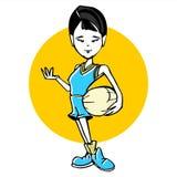 Cartoon of basketball asian girl woman Stock Images
