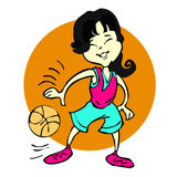 Cartoon of basketball asian girl or young woman Stock Photography