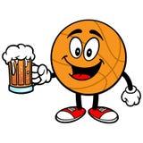 Cartoon Basketball with Beer Stock Image