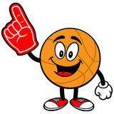 Cartoon Basketball with Foam Finger Royalty Free Stock Images