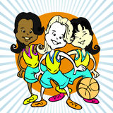 Cartoon of basketball girls Royalty Free Stock Photography
