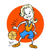 Cartoon of Basketball girls or young woman Royalty Free Stock Images