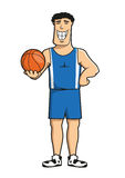Cartoon basketball player with ball Stock Images