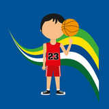 Cartoon basketball player brazilian label Royalty Free Stock Photography
