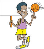 Cartoon basketball player holding a sign. Royalty Free Stock Photography