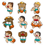 Cartoon basketball player icon. Vector drawing Stock Images