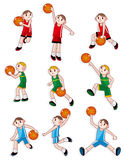 Cartoon basketball player icon. Vector drawing Royalty Free Stock Photos
