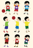 Cartoon basketball player icon set Royalty Free Stock Photo