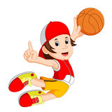 Cartoon basketball player. Illustration of cartoon basketball player royalty free illustration