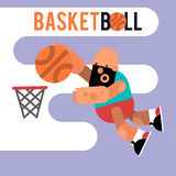 Cartoon basketball player jumping with a ball. Vector illustrati Stock Photos