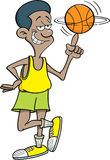 Cartoon basketball player spinning a basketball. Royalty Free Stock Image