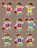 Cartoon basketball player stickers Stock Photography