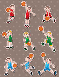 Cartoon basketball player stickers Royalty Free Stock Photo