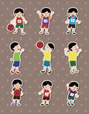 Cartoon basketball player stickers Stock Images