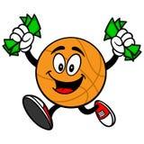 Cartoon Basketball Running with Money Royalty Free Stock Image