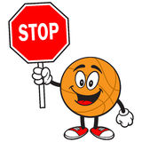 Cartoon Basketball with Stop Sign Royalty Free Stock Photography