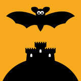 Cartoon Bat And Castle Stock Photo