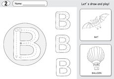 Cartoon bat and balloon. Alphabet tracing worksheet: writing A-Z. Coloring book and educational game for kids Stock Images