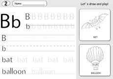 Cartoon bat and balloon. Alphabet tracing worksheet: writing A-Z and educational game for kids. Cartoon bat and balloon. Alphabet tracing worksheet: writing A-Z royalty free illustration