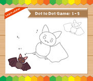 Cartoon Bat. Dot to dot educational game for kids Royalty Free Stock Image