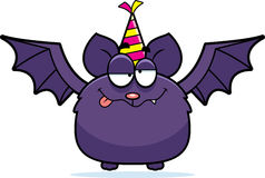 Cartoon Bat Drunk Party. A cartoon illustration of a bat with a party hat looking drunk Stock Photo
