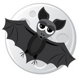 Cartoon bat flying on the moon background Royalty Free Stock Images