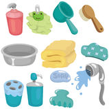 Cartoon Bathroom Equipment icon set royalty free illustration