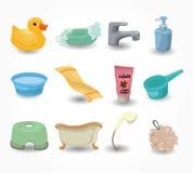 Cartoon Bathroom Equipment icon set.  Royalty Free Stock Photo