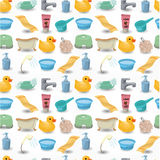 Cartoon Bathroom Equipment seamless pattern Stock Image