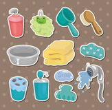 Cartoon Bathroom Equipment  stickers Royalty Free Stock Image
