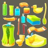 Cartoon Bathroom Icon Set Stock Images