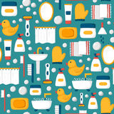Cartoon bathroom seamless background. Seamless background with cartoon bathroom objects: bath, duck, toothbrush, towel, sink, creams, mirror. Indoor house Royalty Free Stock Photos