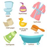 Cartoon bathroom vector equipments. Toilet, sink and bathtub royalty free illustration