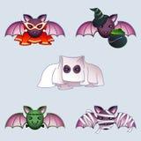 Cartoon bats in Halloween costumes Stock Photos