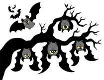 Cartoon bats hanging on branch Royalty Free Stock Photos