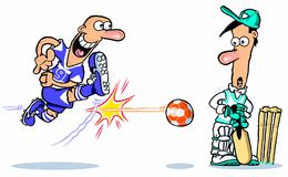 Cartoon of  cricketer and footballer Stock Image