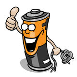 Cartoon battery giving thumb up Stock Photo